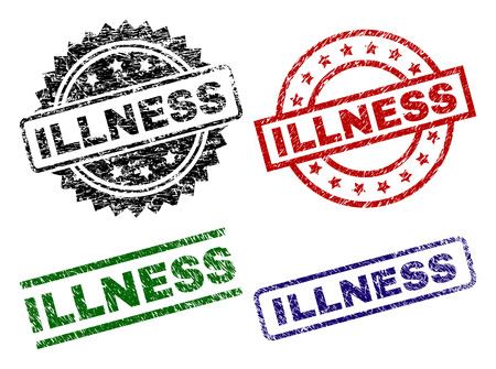 ILLNESS seal prints with corroded surface. Black, green,red,blue vector rubber prints of ILLNESS text with scratched surface. Rubber seals with round, rectangle, medallion shapes. 向量圖像