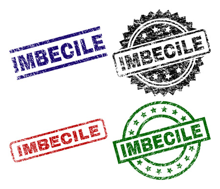 IMBECILE seal prints with damaged surface. Black, green,red,blue vector rubber prints of IMBECILE tag with retro surface. Rubber seals with circle, rectangle, medallion shapes.