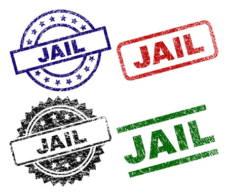 JAIL seal prints with damaged surface. Black, green,red,blue vector rubber prints of JAIL tag with retro surface. Rubber seals with round, rectangle, rosette shapes. Illustration