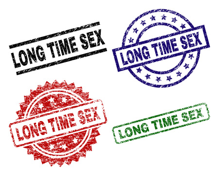LONG TIME SEX seal prints with corroded surface. Black, green,red,blue vector rubber prints of LONG TIME SEX caption with retro surface. Rubber seals with round, rectangle, rosette shapes.