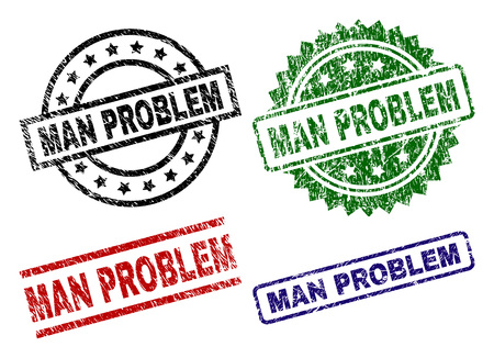 MAN PROBLEM seal prints with corroded style. Black, green,red,blue vector rubber prints of MAN PROBLEM caption with grunge texture. Rubber seals with circle, rectangle, medal shapes.