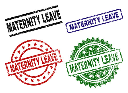 MATERNITY LEAVE seal prints with damaged surface. Black, green,red,blue vector rubber prints of MATERNITY LEAVE label with scratched surface. Rubber seals with round, rectangle, medal shapes. 일러스트