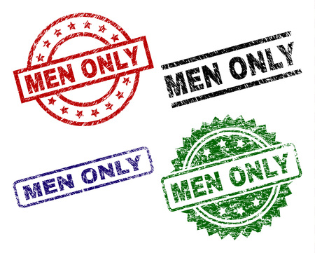 MEN ONLY seal prints with distress style. Black, green,red,blue vector rubber prints of MEN ONLY tag with corroded style. Rubber seals with circle, rectangle, medal shapes.