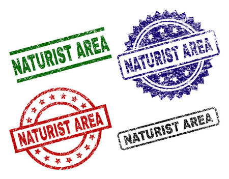 NATURIST AREA seal prints with corroded surface. Black, green,red,blue vector rubber prints of NATURIST AREA text with grunge surface. Rubber seals with round, rectangle, medallion shapes.