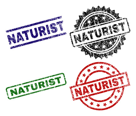 NATURIST seal prints with corroded surface. Black, green,red,blue vector rubber prints of NATURIST text with corroded surface. Rubber seals with round, rectangle, medallion shapes. Illustration