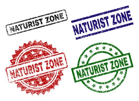 NATURIST ZONE seal prints with damaged texture. Black, green,red,blue vector rubber prints of NATURIST ZONE tag with grunge surface. Rubber seals with round, rectangle, rosette shapes. Illustration