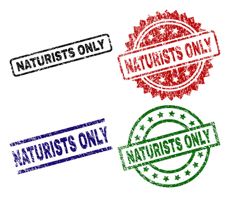 NATURISTS ONLY seal prints with distress surface. Black, green,red,blue vector rubber prints of NATURISTS ONLY caption with grunge surface. Rubber seals with round, rectangle, medallion shapes.