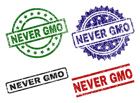 NEVER GMO seal prints with damaged surface. Black, green,red,blue vector rubber prints of NEVER GMO caption with unclean surface. Rubber seals with round, rectangle, medal shapes. Ilustrace