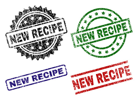 NEW RECIPE seal prints with damaged texture. Black, green,red,blue vector rubber prints of NEW RECIPE caption with unclean texture. Rubber seals with round, rectangle, rosette shapes. 矢量图像