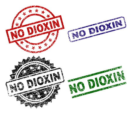 NO DIOXIN seal prints with distress surface. Black, green,red,blue vector rubber prints of NO DIOXIN tag with unclean surface. Rubber seals with circle, rectangle, rosette shapes.