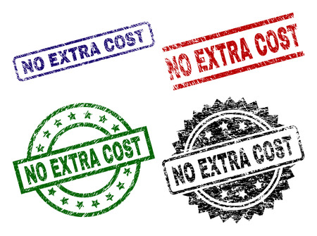 NO EXTRA COST seal prints with corroded texture. Black, green,red,blue vector rubber prints of NO EXTRA COST title with dirty texture. Rubber seals with circle, rectangle, medal shapes.