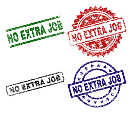 NO EXTRA JOB seal prints with distress surface. Black, green,red,blue vector rubber prints of NO EXTRA JOB label with dirty surface. Rubber seals with round, rectangle, medal shapes. Illustration