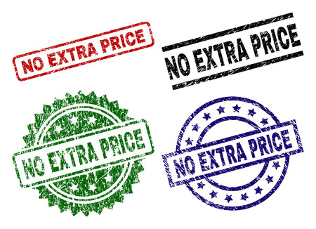 NO EXTRA PRICE seal prints with damaged surface. Black, green,red,blue vector rubber prints of NO EXTRA PRICE label with dust surface. Rubber seals with circle, rectangle, medal shapes.