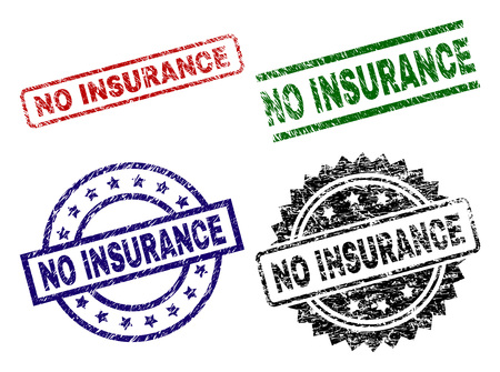 NO INSURANCE seal prints with corroded surface. Black, green,red,blue vector rubber prints of NO INSURANCE text with corroded style. Rubber seals with round, rectangle, medallion shapes. Ilustração