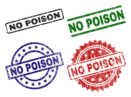 NO POISON seal prints with damaged style. Black, green,red,blue vector rubber prints of NO POISON text with dust style. Rubber seals with circle, rectangle, medal shapes.