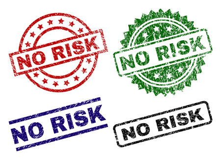 NO RISK seal prints with corroded texture. Black, green,red,blue vector rubber prints of NO RISK caption with dust style. Rubber seals with circle, rectangle, rosette shapes.
