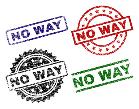 NO WAY seal prints with corroded texture. Black, green,red,blue vector rubber prints of NO WAY text with dirty texture. Rubber seals with circle, rectangle, medal shapes. Illustration