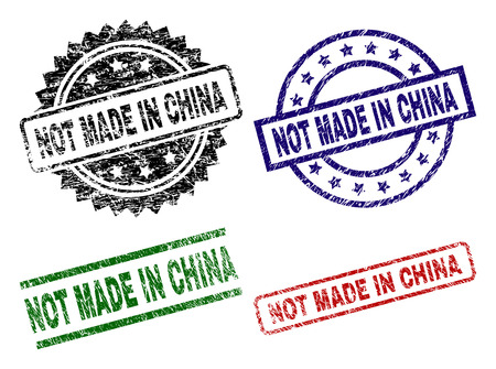 NOT MADE IN CHINA seal prints with damaged surface. Black, green,red,blue vector rubber prints of NOT MADE IN CHINA title with grunge surface. Rubber seals with circle, rectangle, rosette shapes.