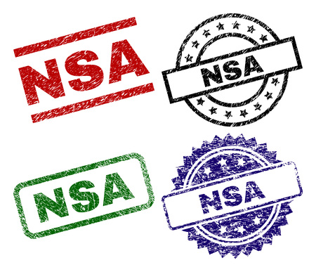 NSA seal prints with corroded style. Black, green,red,blue vector rubber prints of NSA title with corroded style. Rubber seals with circle, rectangle, medallion shapes.
