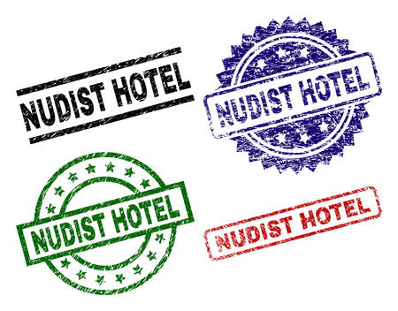 NUDIST HOTEL seal prints with corroded surface. Black, green,red,blue vector rubber prints of NUDIST HOTEL text with scratched surface. Rubber seals with round, rectangle, medallion shapes.