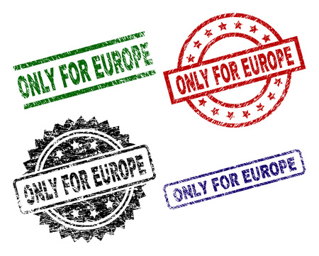 ONLY FOR EUROPE seal prints with corroded texture. Black, green,red,blue vector rubber prints of ONLY FOR EUROPE title with corroded style. Rubber seals with round, rectangle, medal shapes. Иллюстрация