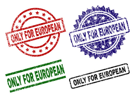 ONLY FOR EUROPEAN seal prints with distress style. Black, green,red,blue vector rubber prints of ONLY FOR EUROPEAN caption with retro style. Rubber seals with circle, rectangle, rosette shapes. Illustration