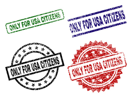 ONLY FOR USA CITIZENS seal prints with distress surface. Black, green,red,blue vector rubber prints of ONLY FOR USA CITIZENS title with unclean surface. Rubber seals with circle, rectangle, Ilustrace