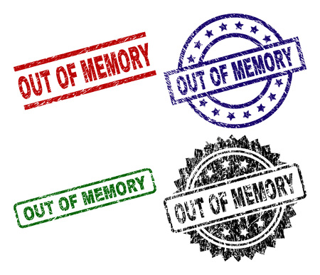 OUT OF MEMORY seal prints with distress surface. Black, green,red,blue vector rubber prints of OUT OF MEMORY label with scratched surface. Rubber seals with circle, rectangle, medal shapes. Illustration