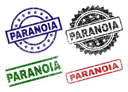 PARANOIA seal prints with distress style. Black, green,red,blue vector rubber prints of PARANOIA tag with dirty style. Rubber seals with round, rectangle, medal shapes. Ilustração