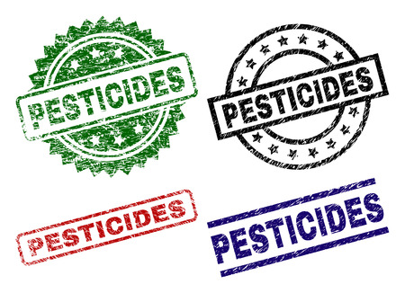 PESTICIDES seal prints with corroded texture. Black, green,red,blue vector rubber prints of PESTICIDES label with dirty texture. Rubber seals with round, rectangle, medal shapes.