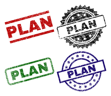 PLAN seal prints with corroded style. Black, green,red,blue vector rubber prints of PLAN tag with dirty style. Rubber seals with round, rectangle, rosette shapes.