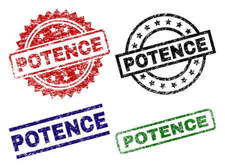 POTENCE seal prints with damaged surface. Black, green,red,blue vector rubber prints of POTENCE caption with dirty surface. Rubber seals with round, rectangle, medallion shapes.