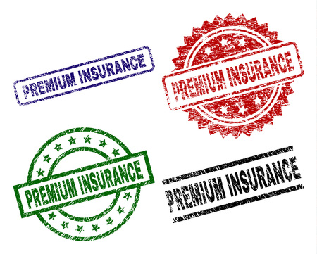 PREMIUM INSURANCE seal prints with distress surface. Black, green,red,blue vector rubber prints of PREMIUM INSURANCE text with unclean surface. Rubber seals with circle, rectangle, rosette shapes.