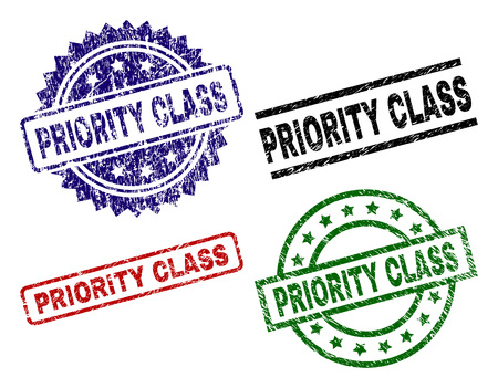 PRIORITY CLASS seal prints with distress style. Black, green,red,blue vector rubber prints of PRIORITY CLASS title with grunge style. Rubber seals with circle, rectangle, medal shapes.