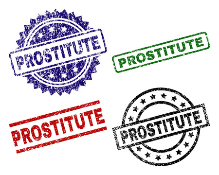PROSTITUTE seal prints with damaged surface. Black, green,red,blue vector rubber prints of PROSTITUTE text with dust surface. Rubber seals with round, rectangle, medallion shapes.