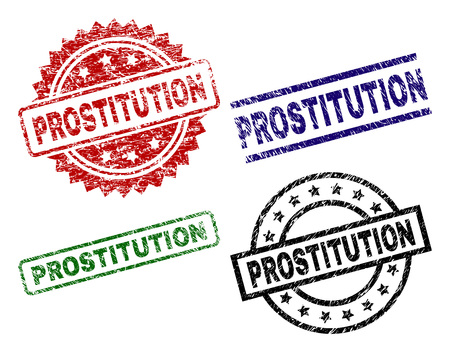 PROSTITUTION seal prints with corroded texture. Black, green,red,blue vector rubber prints of PROSTITUTION caption with corroded texture. Rubber seals with circle, rectangle, medallion shapes.