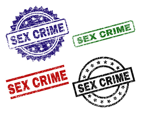 SEX CRIME seal prints with damaged texture. Black, green,red,blue vector rubber prints of SEX CRIME label with unclean texture. Rubber seals with circle, rectangle, medal shapes.