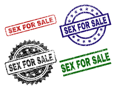 SEX FOR SALE seal prints with corroded texture. Black, green,red,blue vector rubber prints of SEX FOR SALE text with corroded surface. Rubber seals with circle, rectangle, medal shapes. Illusztráció