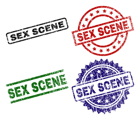 SEX SCENE seal prints with damaged texture. Black, green,red,blue vector rubber prints of SEX SCENE tag with grunge texture. Rubber seals with round, rectangle, medallion shapes.