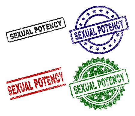 SEXUAL POTENCY seal prints with corroded style. Black, green,red,blue vector rubber prints of SEXUAL POTENCY tag with scratched surface. Rubber seals with circle, rectangle, rosette shapes.
