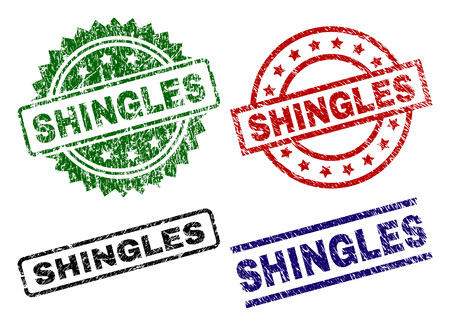 SHINGLES seal prints with damaged style. Black, green,red,blue vector rubber prints of SHINGLES title with corroded style. Rubber seals with round, rectangle, medal shapes.