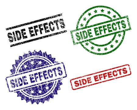 SIDE EFFECTS seal prints with damaged style. Black, green,red,blue vector rubber prints of SIDE EFFECTS text with corroded style. Rubber seals with round, rectangle, rosette shapes.