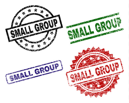 SMALL GROUP seal prints with damaged style. Black, green,red,blue vector rubber prints of SMALL GROUP title with unclean style. Rubber seals with circle, rectangle, medal shapes. Ilustração
