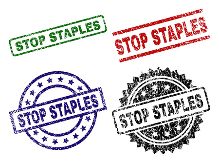 STOP STAPLES seal prints with corroded surface. Black, green,red,blue vector rubber prints of STOP STAPLES tag with retro texture. Rubber seals with circle, rectangle, medallion shapes. Illustration
