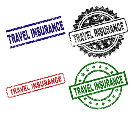 TRAVEL INSURANCE seal prints with corroded style. Black, green,red,blue vector rubber prints of TRAVEL INSURANCE tag with corroded style. Rubber seals with round, rectangle, rosette shapes. Vectores