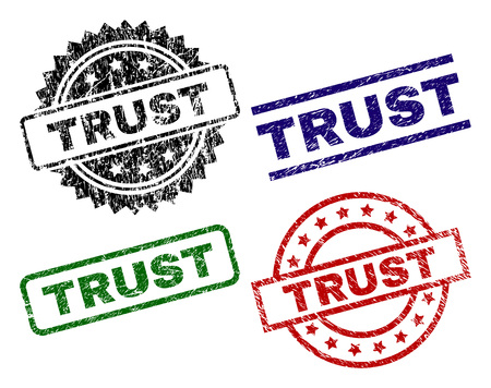 TRUST seal prints with corroded texture. Black, green,red,blue vector rubber prints of TRUST text with grunge texture. Rubber seals with round, rectangle, medallion shapes.