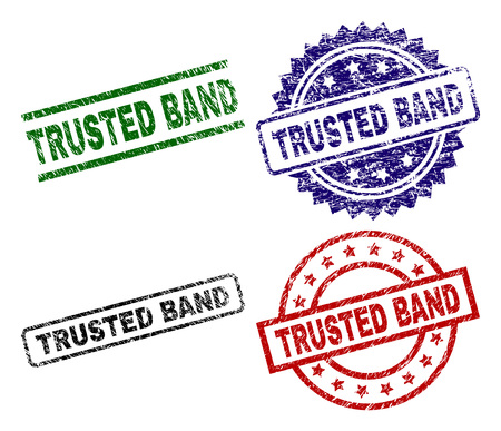 TRUSTED BAND seal prints with damaged surface. Black, green,red,blue vector rubber prints of TRUSTED BAND caption with corroded surface. Rubber seals with round, rectangle, rosette shapes.
