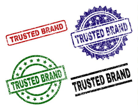 TRUSTED BRAND seal prints with corroded style. Black, green,red,blue vector rubber prints of TRUSTED BRAND text with scratched style. Rubber seals with round, rectangle, rosette shapes.