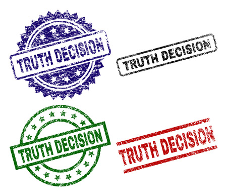 TRUTH DECISION seal prints with corroded surface. Black, green,red,blue vector rubber prints of TRUTH DECISION tag with grunge texture. Rubber seals with round, rectangle, medallion shapes. Illustration