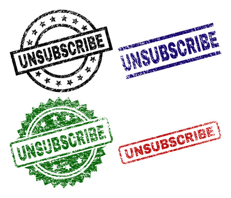 UNSUBSCRIBE seal prints with corroded texture. Black, green,red,blue vector rubber prints of UNSUBSCRIBE title with retro texture. Rubber seals with round, rectangle, medal shapes.